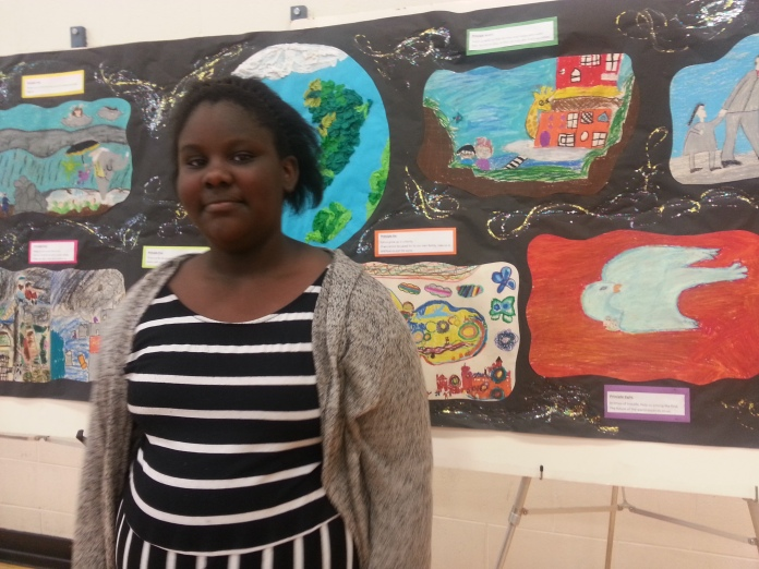 student Shania and mural
