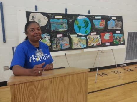 Teacher Lillian Carter, Mural Celebrating Year of the Child